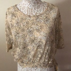 Sheer beige and black flower detailed blouse